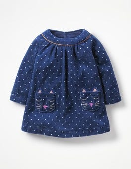 Starboard Blue Spot Fun Appliqué Velour Dress