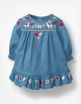 Azure Blue Embroidery Embroidered Smock Dress