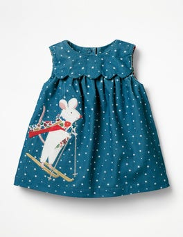 Drummer Blue Star Mouse Appliqué  Friends Dress