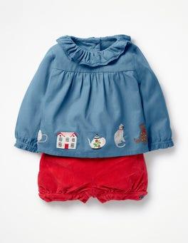 Azure Blue Embroidery Nostalgic Woven Play Set