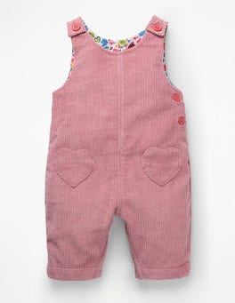 Vintage Pink Hearts Fun Cord Overalls