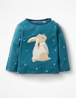 Drummer Blue Snow Spot Bunny Snowy Friends Appliqué T-shirt