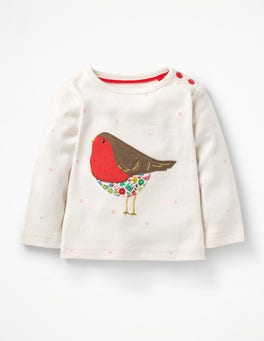 Ecru Snow Spot Robin Snowy Friends Appliqué T-shirt