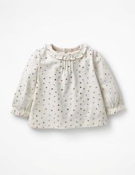 Ecru Twinkle Star Printed Ruffle T-shirt