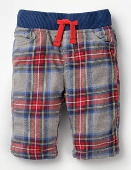 Grey Marl/Salsa Red Check Cosy Checked Trousers