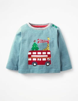 Soft Bluebell Blue Bus Festive Printed T-shirt