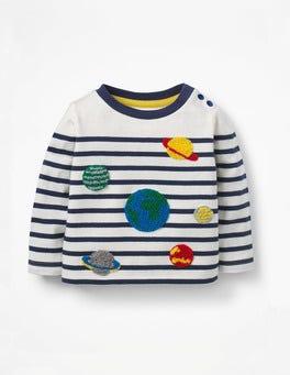 Ivory/Beacon Blue Planets Detailed Breton T-shirt