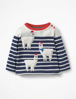 Ivory/Beacon Blue Llamas Detailed Breton T-shirt