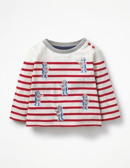 Ivory/Cherry Tomato Red Robots Detailed Breton T-shirt