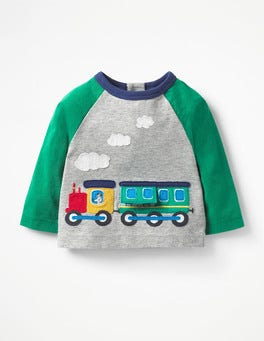 Grey Marl Train Appliqué Toy T-shirt