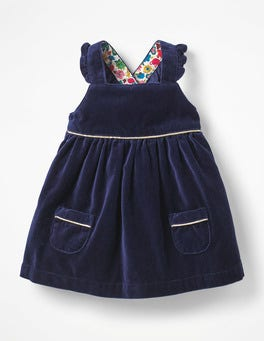 Prussian Blue Velvet Pinafore Dress