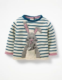 Drummer Blue/Ecru Marl Bunny Bunny Pocket Knitted Sweater