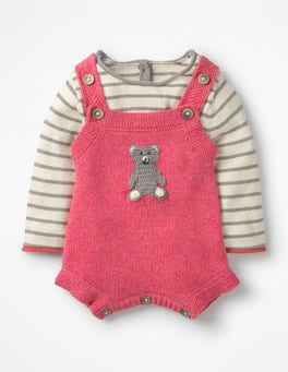 Rosette Pink Bear Cosy Knitted Romper Set