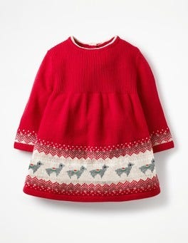 Poppy Pink Llamas Fair Isle Knitted Dress