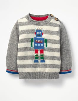 Silver Marl/Ecru Foil Robot Fun Striped Jumper
