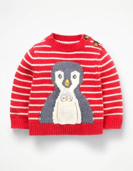 Engine Red/Ecru Penguin Novelty Pet Jumper