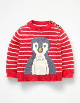 Engine Red/Ecru Penguin Novelty Pet Sweater
