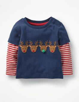Beacon Blue Reindeer Layered Animal Friends T-shirt