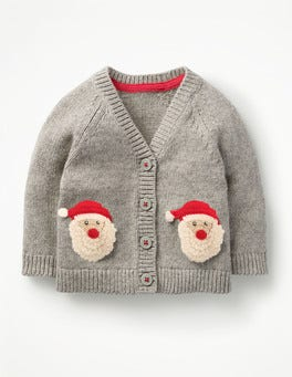 Grey Marl Father Christmas Crochet Characters Cardigan