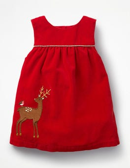 Polish Red Reindeer Appliqué  Friends Dress