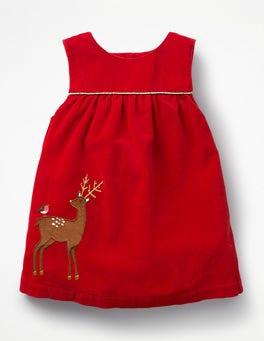 Polish Red Reindeer Appliqué  Friends Dress