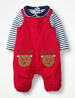 Engine Red Reindeer Pocket Pet Dungaree Set