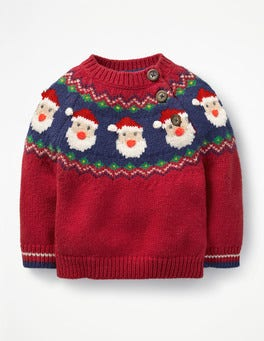 Engine Red Father Christmas Fair Isle Jumper