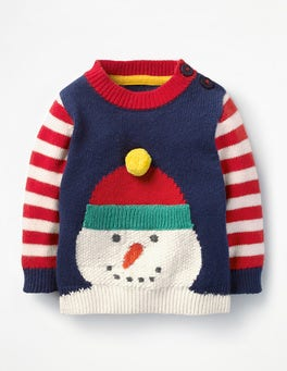 Beacon Blue Snowman Fun Striped Jumper