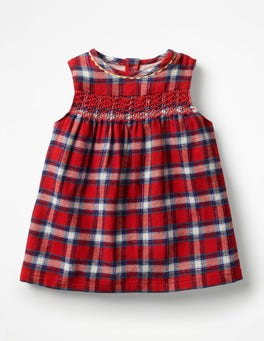 Polish Red Check Festive Party Dress