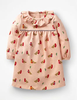 Provence Dusty Pink Robins Christmas Jersey Dress