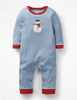 Beacon Blue/Ecru Snowman Snowman Jersey Romper