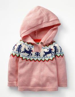 Vintage Pink Reindeer Reindeer Fair Isle Jumper