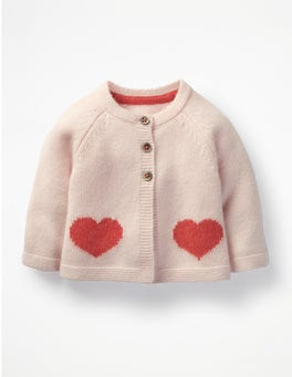 Provence Dusty Pink Hearts Cashmere Cardigan