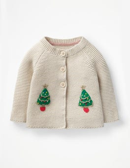 Ecru Marl Christmas Trees Festive Cardigan