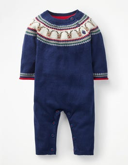Beacon Blue Reindeer Reindeer Knitted Romper