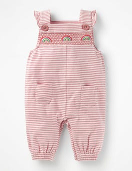 Ivory/Almond Blossom Pink Smocked Jersey Dungarees