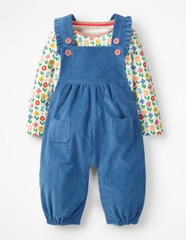 Multi Flower Patch Frilly Dungaree Set