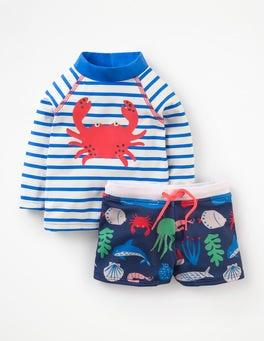 Ivory/Pool Blue Crab Rash Vest and Pants Set