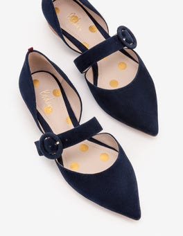 Navy  Evie Pointed Flats