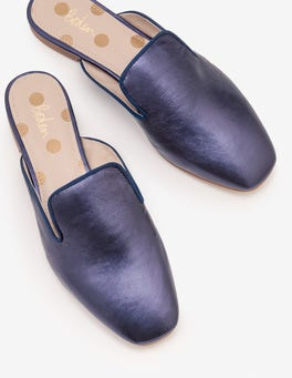 Navy Metallic Poppy Backless Loafers