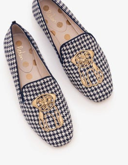 Navy and Ivory Puppytooth Elsie Embroidered Slippers