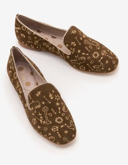 Military Green Elsie Embroidered Slippers