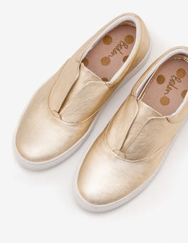 Gold Metallic Slip-on Trainers