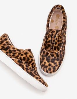 Tan Leopard Slip-on Trainers