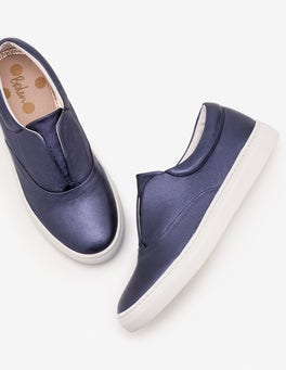 Navy Metallic Slip on Trainers