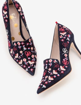 Navy Embroidered Millie Heels