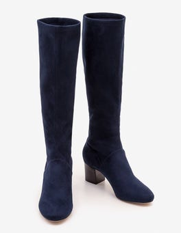 Navy Round Toe Stretch Boots
