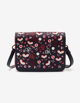 Navy Embroidered Broadgate Crossbody Bag