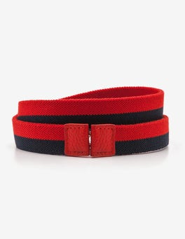 Post Box Red and Navy Stripe Elastic Waist Belt