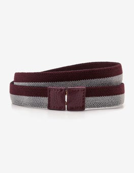 Mulled Wine and Silver Stripe Elastic Waist Belt